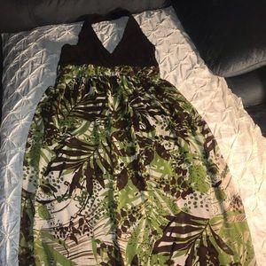 Sandra Darren Green Brown Floral maxi dress